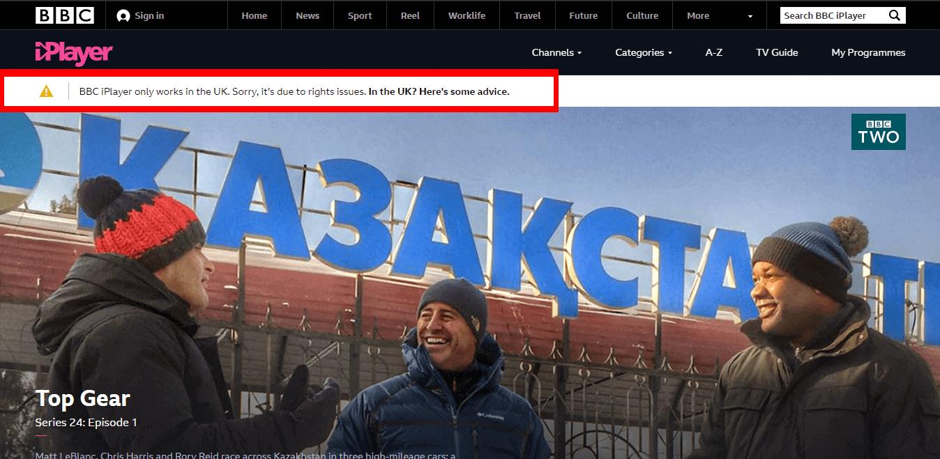 BBC iPlayer Outside UK Error