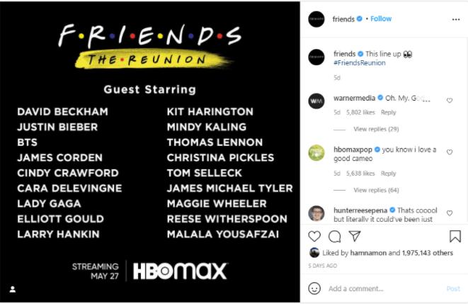 friends reunion online